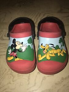 Crocs Disney Mickey Mouse Pluto Crocband Kids Youth Size C 10/11 Red