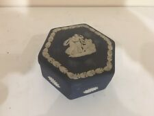 Wedgwood Jasperware Portland Dark Blue 6 Side Lidded Trinket Jewelry Box