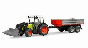 Bruder 02112 Claas Nectis 267 F mit Frontlader und Bordwandanhänger Traktor
