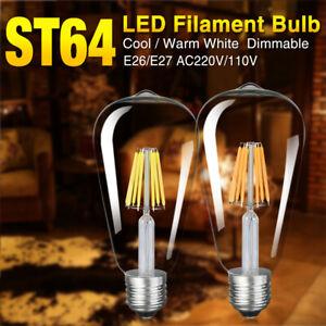16w retro filament led bulb e26/e27 st64 edison drop lamp dimmable lighting 9D0