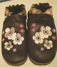ROBEEZ NEW 18-24 Month Girls WHITE/PINK/BROWN LEATHER UPPERS SWEET GIRL TWINS