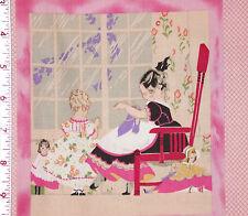 "24"" x 44"" Panel DECO DARLINGS Children Dress Up In the Beginning 8 BLOCKS Pink"