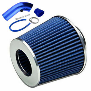 1 Set Car Cold Air Intake System Filter Aluminum Pipe Power Flow Tube Hose Blue