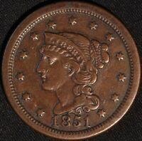 "1851 ""BRAIDED HAIR"" LARGE CENT!"