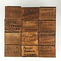 Lot 12 Vintage Wooden Box Handmade Amish Storage Dove Tail Primitive Décor Set