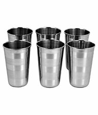 6 Pieces Stainless Steel Drinking Silver Glass Free Shipping