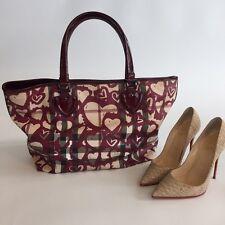 Authentic Burberry Nova Bag Plaid with Red Hearts Handbag Rare 0009 - 113