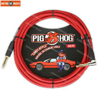 "Pig Hog 1/4"" Candy Apple Red Guitar Instrument Cable Cord 10ft Right-Angle"