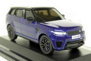 Oxford 1/76 Scale Range Rover Sport SVR Sentoril Blue Tiny Diecast car + Case