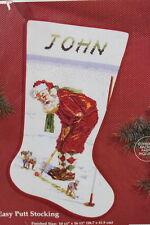 NEW NIP Janlynn Christmas Cross Stitch Kit Easy Putt Stocking Santa Golf