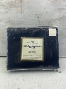 Vintage Linens n' Things 250 thread count twin duvet navy blue NOS