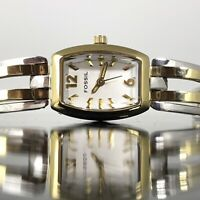 Fossil Womens Watch Steel Link Bracelet Gold & Silver Tone Faceted Crystal
