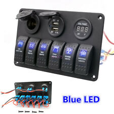 6 Gang Car Marine Boat Electric LED Circuit Rocker Switch Control Pannel Breaker