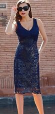 Eden Rose Women's Navy Sequin Paillettes Lace Cocktail Dress & Gilet Size Large