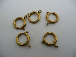 QUALITY 5 large 16mm solid brass  BOLT RING SPRING CLASPS watch dog clip