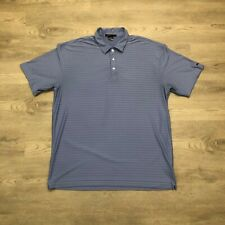 Nike Tiger Woods Collection Mens Blue Golf Polo Shirt Striped Short Sleeve 2XL