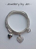 Bracelet Stack Heart Charms Silver Plated Beaded Bracelet Handmade