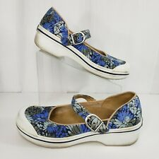 Dansko Size 40 Valerie Mary Jane Buckle Blue Floral Canvas 9.5 US
