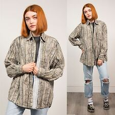VINTAGE 90'S WOMENS UNISEX CORDUROY SHIRT STRIPED LEAF PATTERN CORD CASUAL 16 18