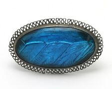 Antique Art Deco Sterling Silver Morpho Butterfly Wing Oval Filigree Pin Brooch