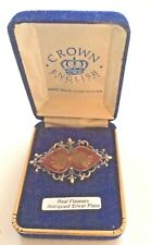 Crown English Brooch Real Flowers & Antiqued Silver Plate