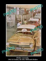 LARGE HISTORIC PHOTO OF GM HOLDEN THE EJ HOLDEN 1 MILLIONTH CAR c1962
