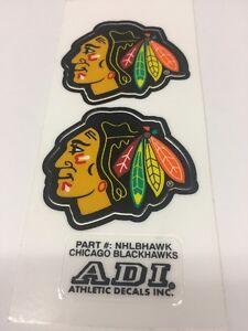 NHL Helmet Stickers, Chicago Black Helmet 1pair