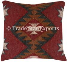 Indian Kilim Jute Cushion Cover 18x18 Hand Woven Vintage Rug Throw Pillow Cases