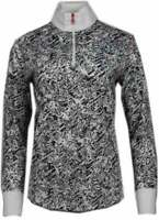 Page & Tuttle Ladderstitch Print Mock Neck  Womens   Athletic  Pullover  - Black