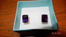Vintage k14 Yellow Gold emerald cut 6.00 TCW Amethyst Purple Pierced Earrings