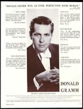 1960 Donald Gramm photo opera recital tour booking trade print ad