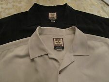 2 TOMMY BAHAMA SHIRTS 1 BLACK/1 TAN ALL SILK SIZE M  EXCELLENT CONDITION