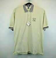 LA Mode Active Sportswear S/S Men's L Polo Shirt Beige Black Stripe Accent NWT