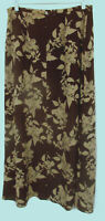 BROOKS BROTHERS Mid Calf Skirt 100% Silk Fully Lined Brown Floral Size 10