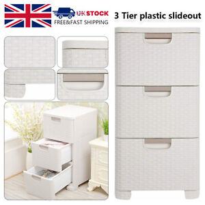 Rattan 3 Drawer Tower Cream Home Plastic Storage Unit Office Bedroom Box