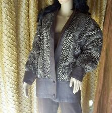 Cuccini Leopard Print Jacket S (43) 3/4 length sleeves Faux leather cuffs waist