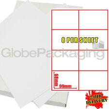 200 Hojas De Impresora dirección Etiquetas de Laser 8 Por Hoja