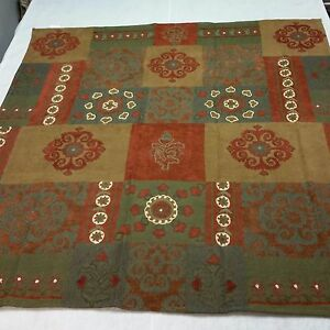 Luxury Designer Rust, Green and Tan Patchwork Chenille Throw and Set of Pillows