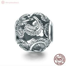 Charm Pendant Ladies W.F.Pandora Feather Beads Spacer 925 Sterling Silver