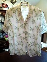 Christie & Jill Women's Short Sleeve Blouse Top Light Pink Floral Size Large