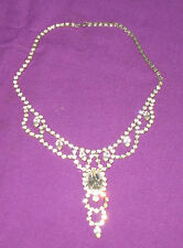 GORGEOUS VINTAGE 1940s FACET CUT CLEAR CRYSTAL GLASS CHOKER NECKLACE
