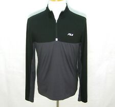 Fila Men's (Size Small) Gray Black Long Sleeve Reflective 1/2 Zip Running Shirt