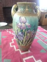 LARGE ANTIQUE ART NOUVEAU VASE, GLADIOLLAS UNMARKED ART POTTERY