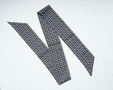 Salvatore Ferragamo $190 New Black Gray Gancini Geometric Print 100% Silk Scarf