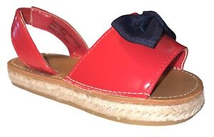 Baby Toddler Girls Red Espadrilles Sandals Shoes w/Bow Size 8 NWOT PC
