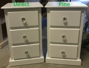 X 2 (PAIR) SHAFTESBURY 3 DRAWER BEDSIDE CABINETS WHITE / CRYSTAL HANDLES