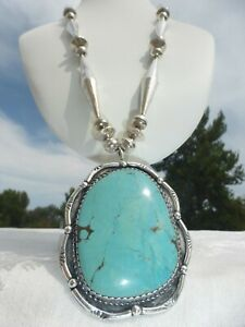 FANTASTIC Lrg NATIVE AMERICAN NAVAJO Big Boy TURQUOISE Sterling Silver NECKLACE