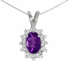 14k White Gold Oval Amethyst and Diamond Pendant (no chain) (CM-P6410XW-02)