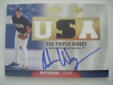 ASHER WOJCIECHOWSKI signed REDS 2009 Upper Deck USA Jersey baseball card AUTO GU