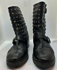 Michael Kors Studded Black Boots 2 Buckles 9m Womens